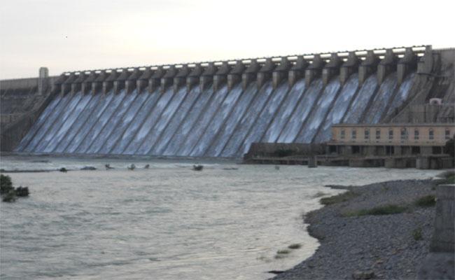 Krishna Water Flows From the Crest Gates at Nagarjuna Sagar Dam - Sakshi
