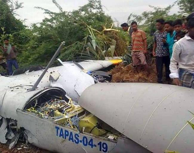 DRDO Drone Crashes In Open Field In Karnataka - Sakshi