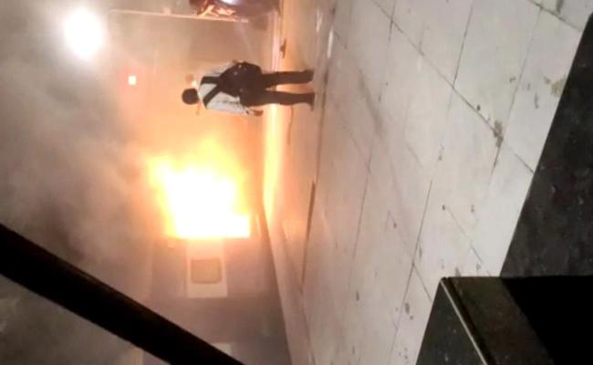 Manuguru Express Catches Fire At Kothagudem Station - Sakshi