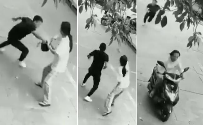 woman reverse punch to a Stupid robber - Sakshi