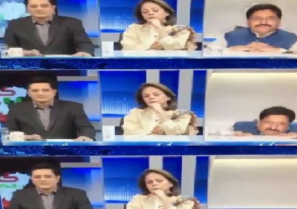 Pakistani analyst falls off chair during live TV debate, Viral Video - Sakshi