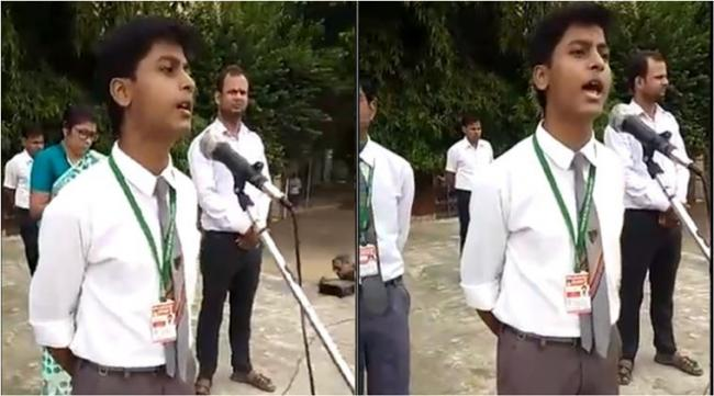 Varanasi Boy Fiery Speech on Gandhian Values - Sakshi