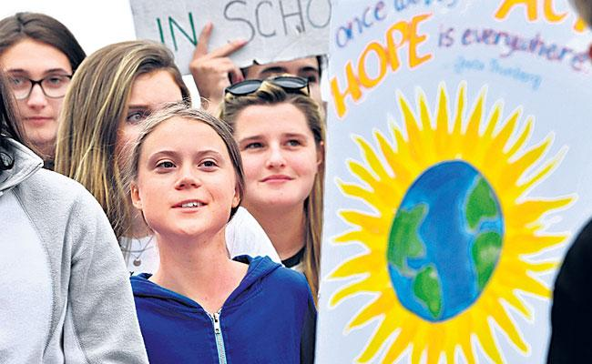 Swedish Climate activist Greta Thunberg Delivers Remarks To Campaigners in Washington  - Sakshi