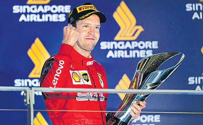 Sebastian Vettel Ends Drought With Victory In Singapore - Sakshi