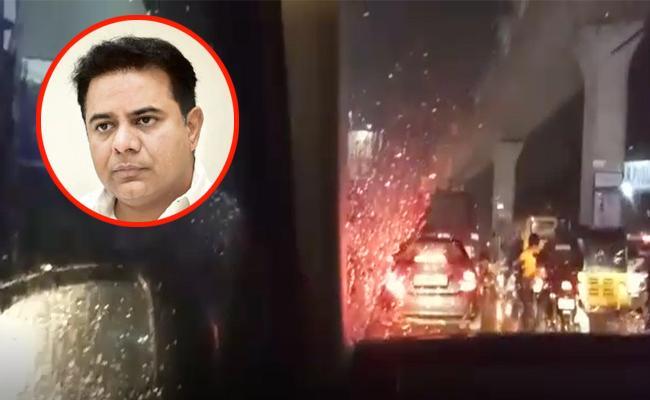 KTR Stuck In Traffic Due To Heavy Rains In Hyderabad - Sakshi