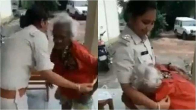 Shivraj Singh Chouhan Shares Video Cop Gifts Clothes to Elderly Woman - Sakshi
