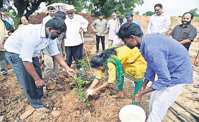 Badminton Player PV Sindhu Plants Saplings At At Nandigama - Sakshi