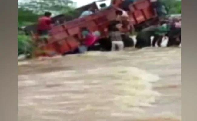 Truck Swept Away By Floods Heavy Rainfall In Rajasthan - Sakshi