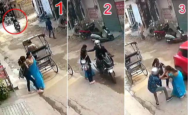 Bike borne chain snatchers caught red-handed by a woman and her daughter - Sakshi