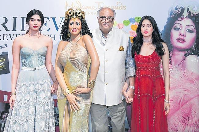 Boney Kapoor unveils Sridevi wax statue with daughters Janhvi kapoor - Sakshi