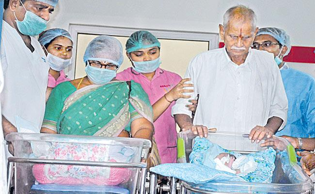 73 year old woman Gives Birth To Twins Through IVF In Guntur - Sakshi