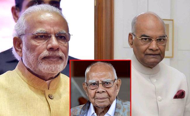 PM Modi, President Ramnath Kovind Tribute To Ram Jethmalani - Sakshi