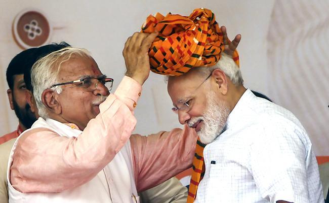 PM Modi addresses Vijay Sankalp rally in Haryana - Sakshi