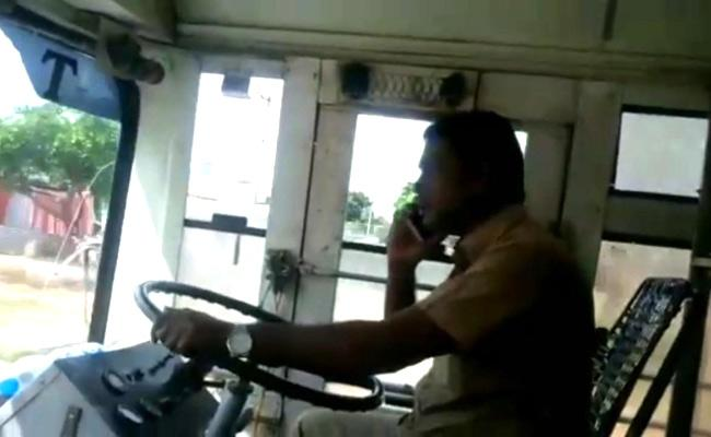 Narketpally Depot rtc Bus Driver Caught On Camera While Driving - Sakshi