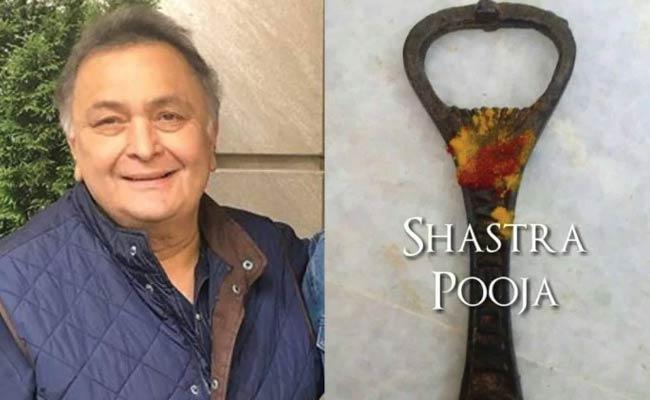 Rishi Kapoor with Advice About Bottle opener For Shastra Puja on Dussehra - Sakshi