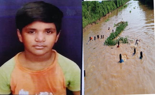 Boy Fled Away By Slipped Into Vamsadara River In Srikakulam  - Sakshi
