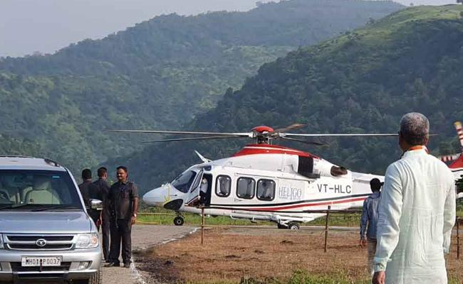 Devendra Fadnavis Chopper Skids While Landing in Raigad - Sakshi