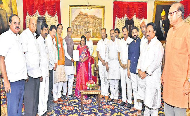 BJP Leaders Met State Governor Tamilisai Soundararajan - Sakshi