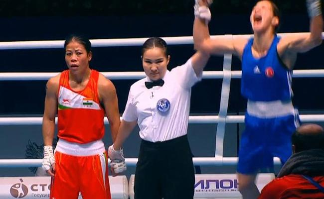 Mary Kom Settles for Bronze After Loses Semi-final At Womens WBC - Sakshi