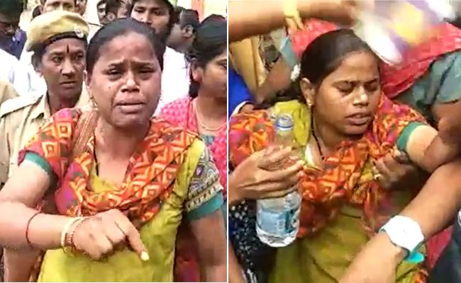 TSRTC Strike : Lady Conductor Fell Down While Protesting - Sakshi