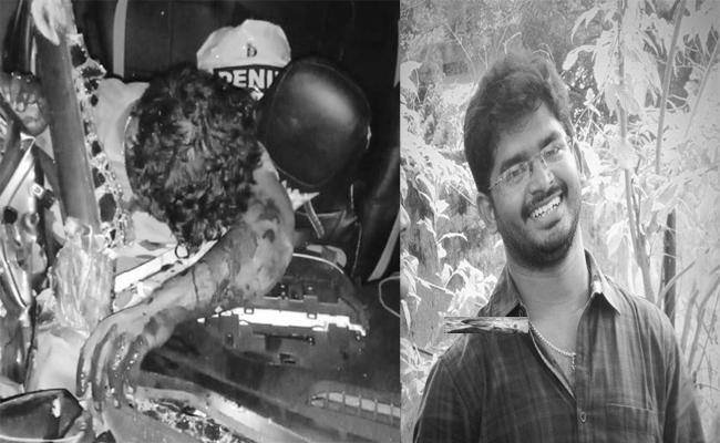 Father Died In Road Accident In Ibrahimpatnam - Sakshi