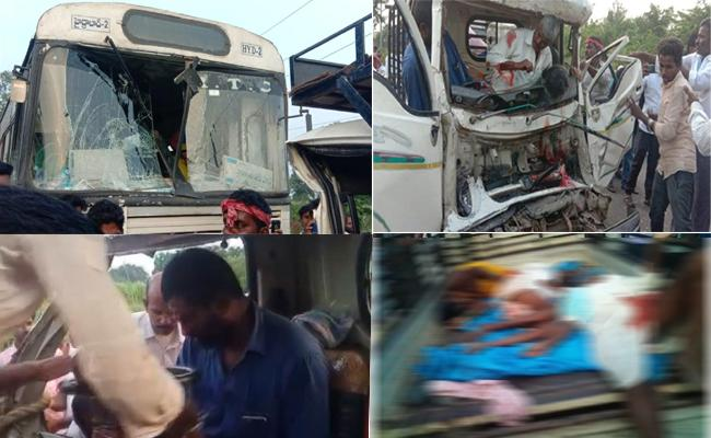 Three killed in TATA ace -RTC bus collision in Sangareddy - Sakshi