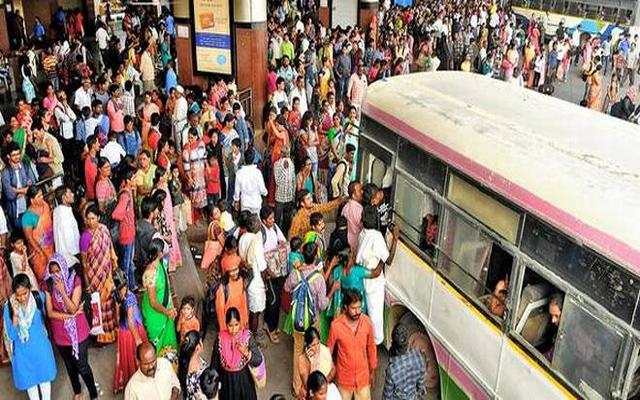 Railway Stations And Bus Stops Are Full Of Rush With Passengers In Vijayawada - Sakshi