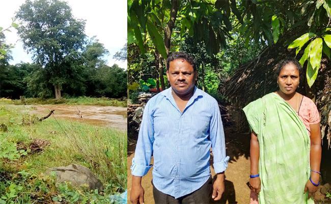 Tribal Couple Strucked in Canal East Godavari - Sakshi