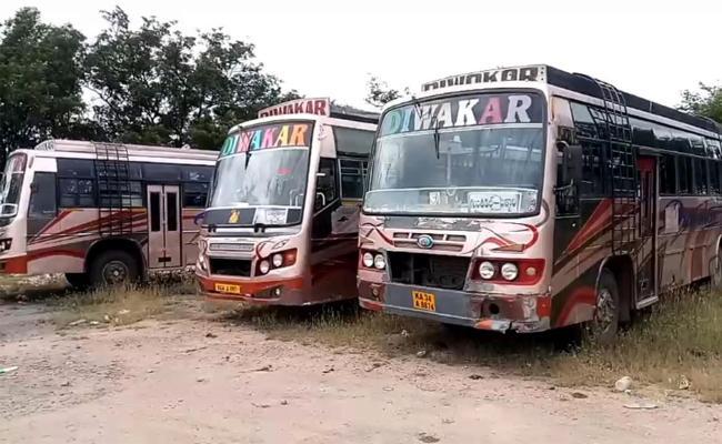 AP RTA Officials Seized 23 Diwakar Travels Buses - Sakshi