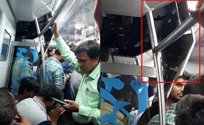 Hyderabad Metro Train Gets Damaged In Compartment At Khairatabad - Sakshi