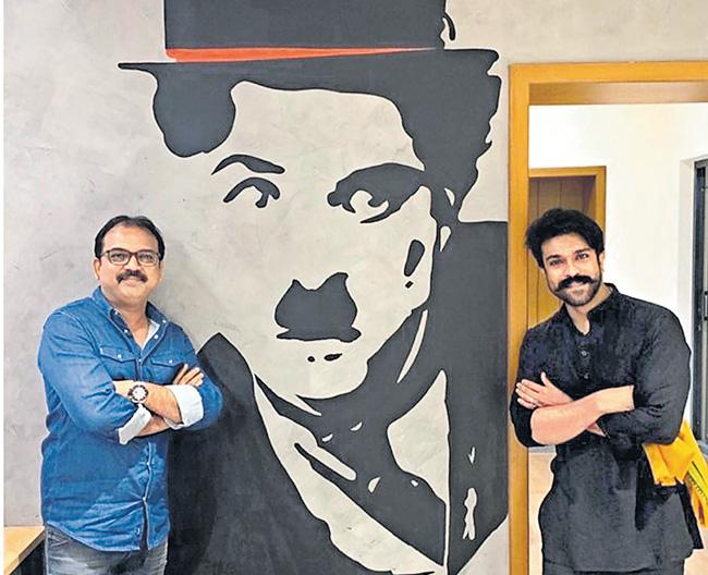 Chiranjeevi and Ram Charan visits Koratala Siva office - Sakshi