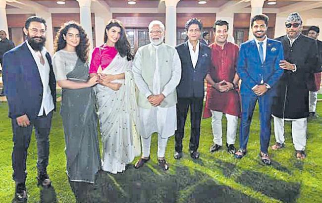 PM Narendra Modi meets Bollywood stars - Sakshi