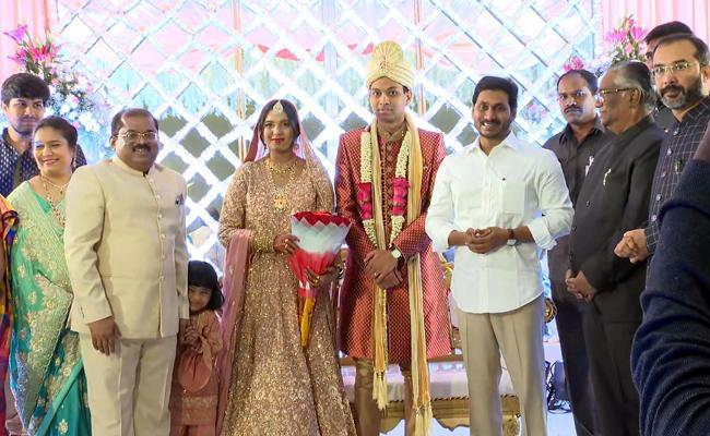 CM YS Jagan Attends Krishna District Collector Daughter Marriage - Sakshi