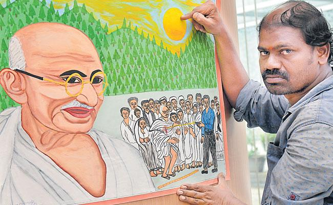 Shivakumar Paints Figures Of Prominent Politicians With Oil Paints - Sakshi