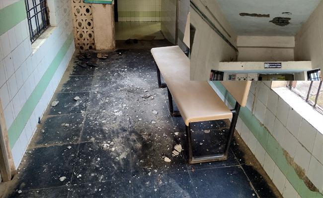 Hospital Slab Splashes Blown Down At Main Hall Of Maternity Department In Tekkali - Sakshi