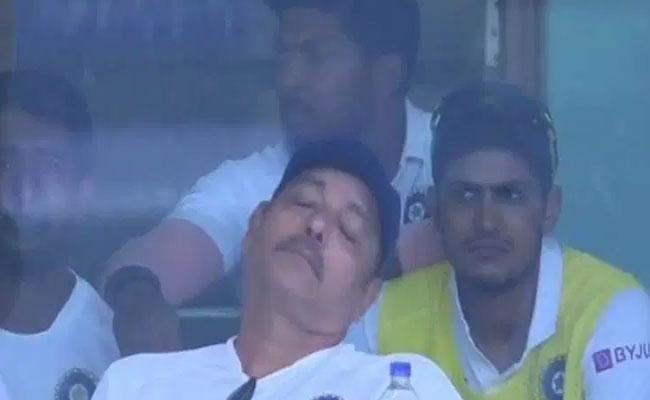 Ravi Shastri Sleeping During India South Africa Match - Sakshi