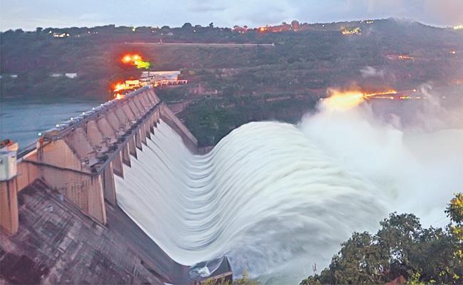 Krishna River Water Flowing Increased And Sagar Gates Open - Sakshi