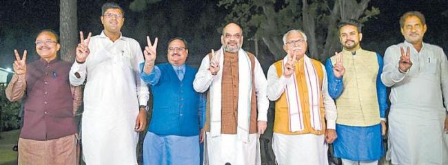 BJP- JJP join hands to stake claim to form govt on Saturday - Sakshi