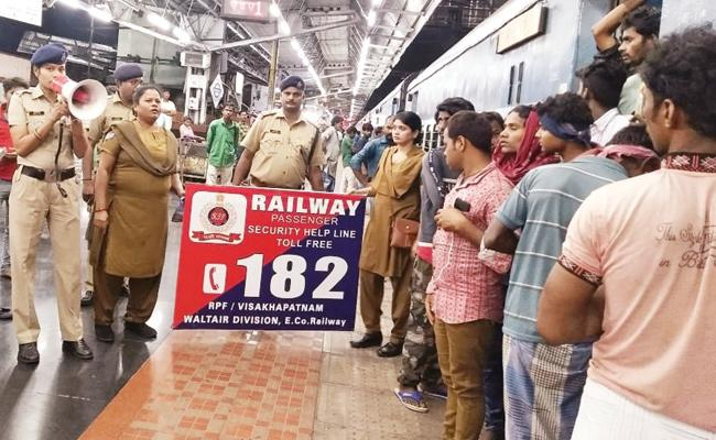 Railway Officials Strict Owning Against Carrying Crackers On Train For Diwali - Sakshi