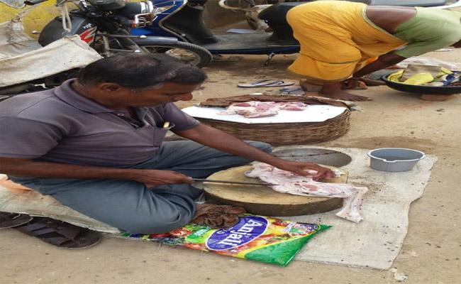 On Gandhi Jayanti Day Man Seemed Selling Meat - Sakshi