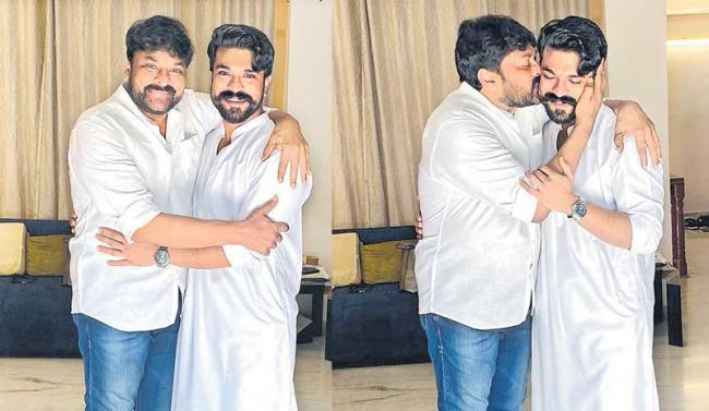 Ram Charan shares delightful pics of him with father Chiranjeevi - Sakshi