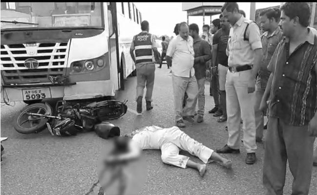 Couple killed after APSRTC bus hits 2-wheeler in Outer Ring Road - Sakshi