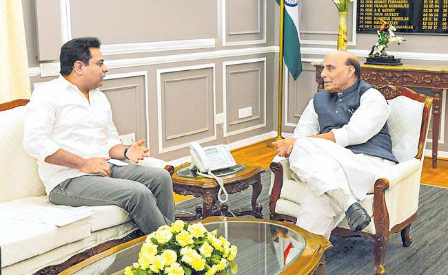 KTR Meets Central Minister Rajnath Singh - Sakshi