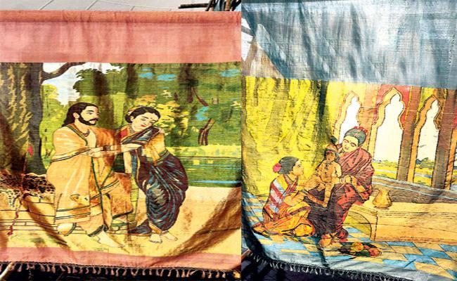 Raja Ravivarma paintings on Sarees hyderabad - Sakshi