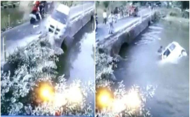 Man Saves Child From Drowning After Car Falls Into River In Madhya Pradesh - Sakshi