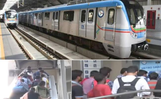 RTC Strike, Metro Trains To Be Available Till 11.30 PM - Sakshi