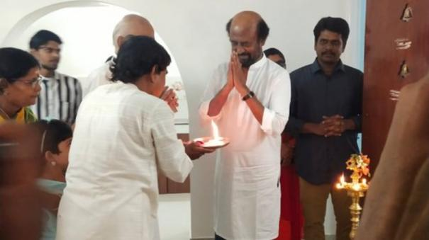 Superstar Rajinikanth Visits Kalaignanam New House In Chennai - Sakshi