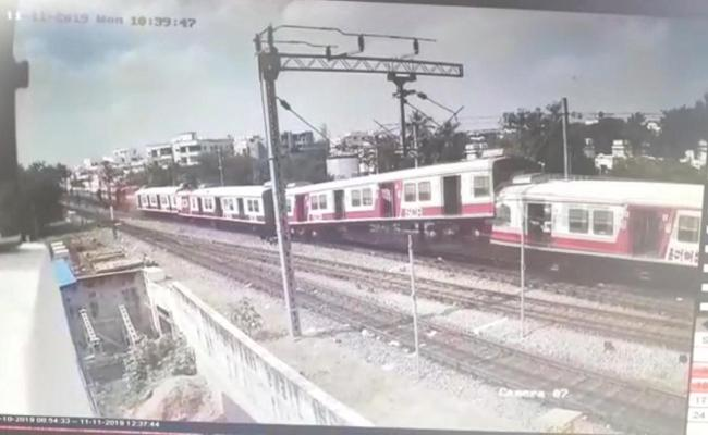 CCTV Footage Of Trains collide near Kacheguda Railway Station - Sakshi