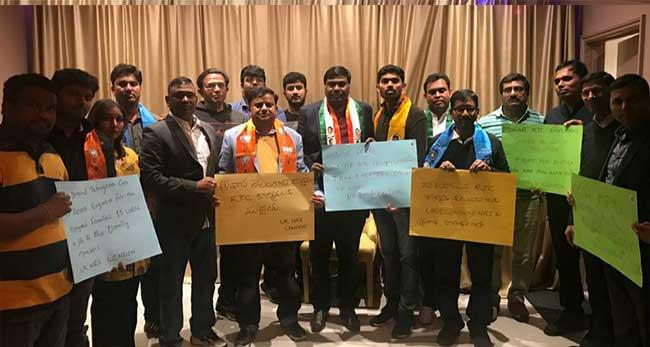 London NRIs Extending their support to the ongoing RTC employees strike - Sakshi