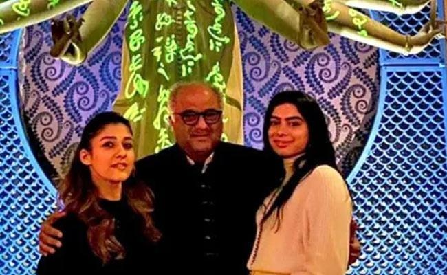 Nayanthara Meets Boney Kapoor And His Daughter At USA - Sakshi